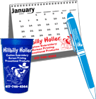 promotional cups, mugs, calendars, and pens